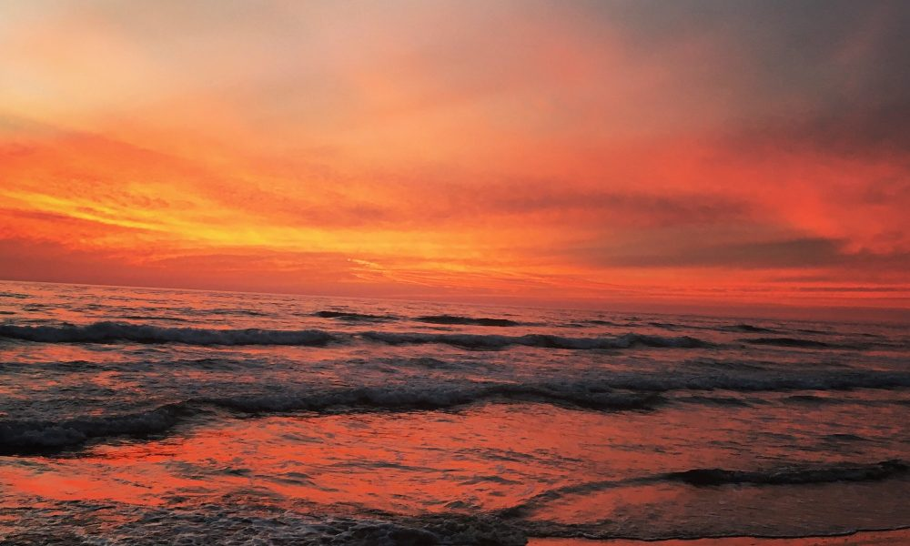Fiery ocean reflecting the sunset