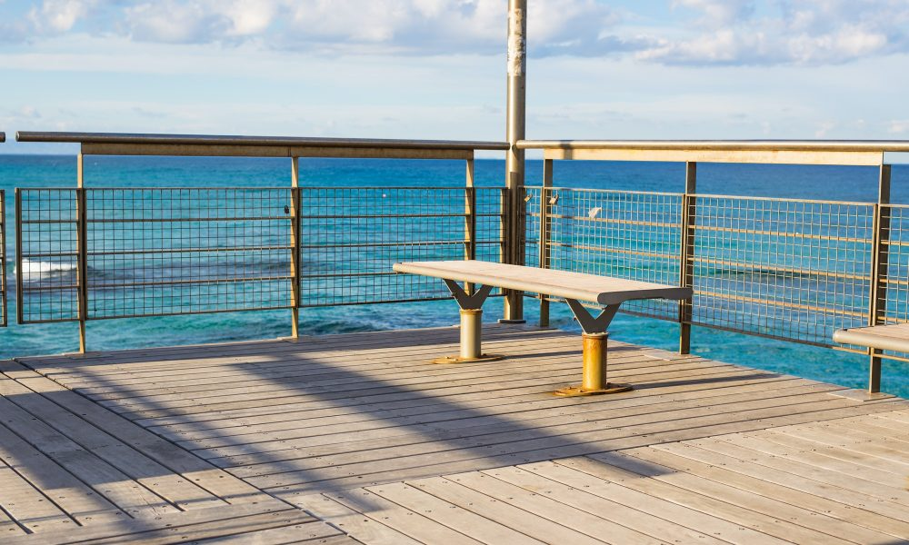 view of a bench on pier